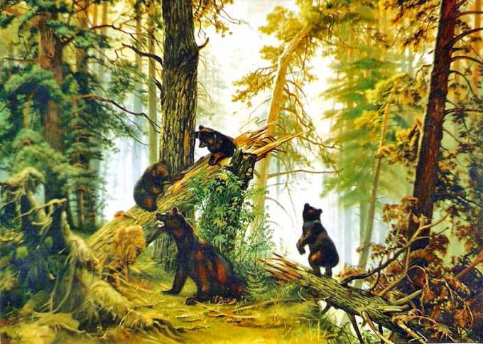 Картина бисером мишки в лесу